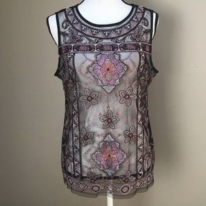 WHBM Floral Embroidered Black Lace Top Size L